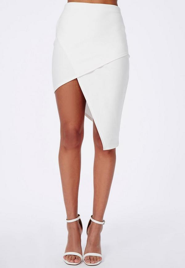 asymmetric midi skirt white missguided australia