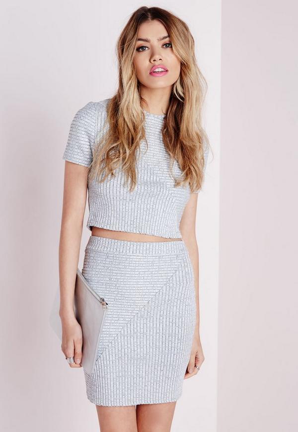 Textured Bandage Ribbed Mini Skirt Grey