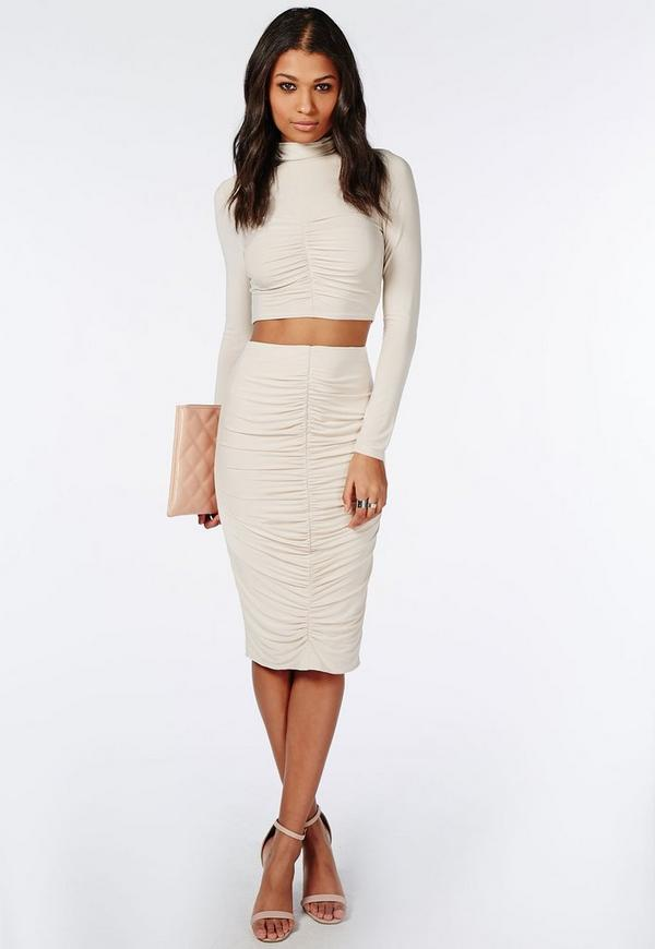 Ruched Slinky Midi Skirt Taupe