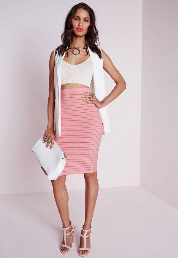 Sheer Stripe Midi Skirt Dusky Pink