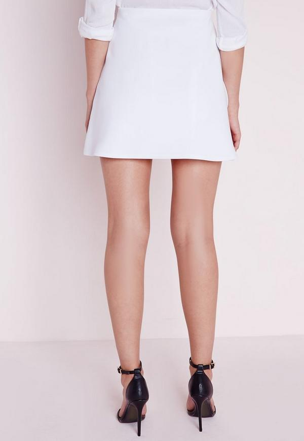 Zip Front A Line Mini Skirt White | Missguided