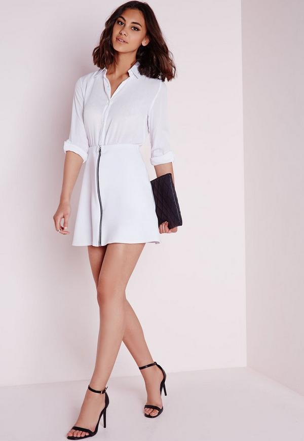 zip front a line mini skirt white missguided
