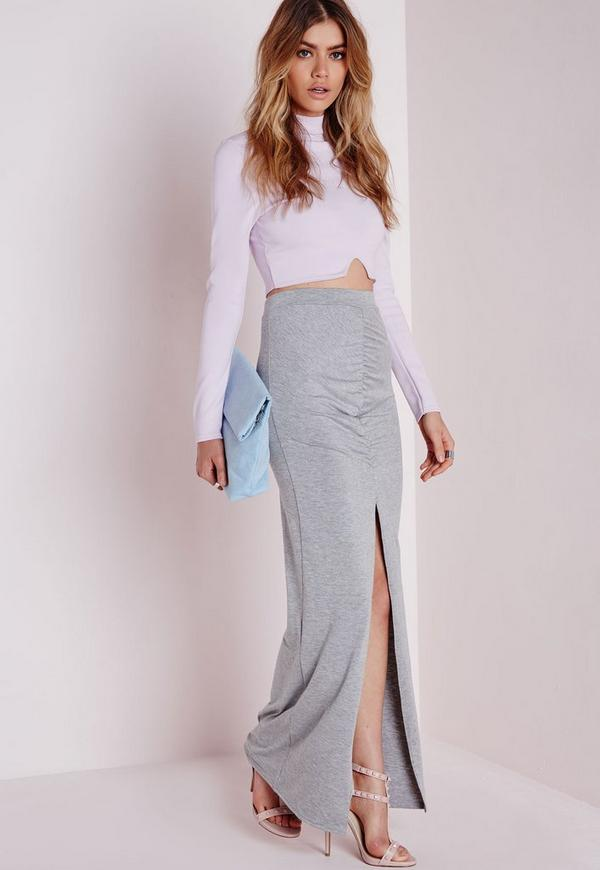 Front Split Ruched Maxi Skirt Grey