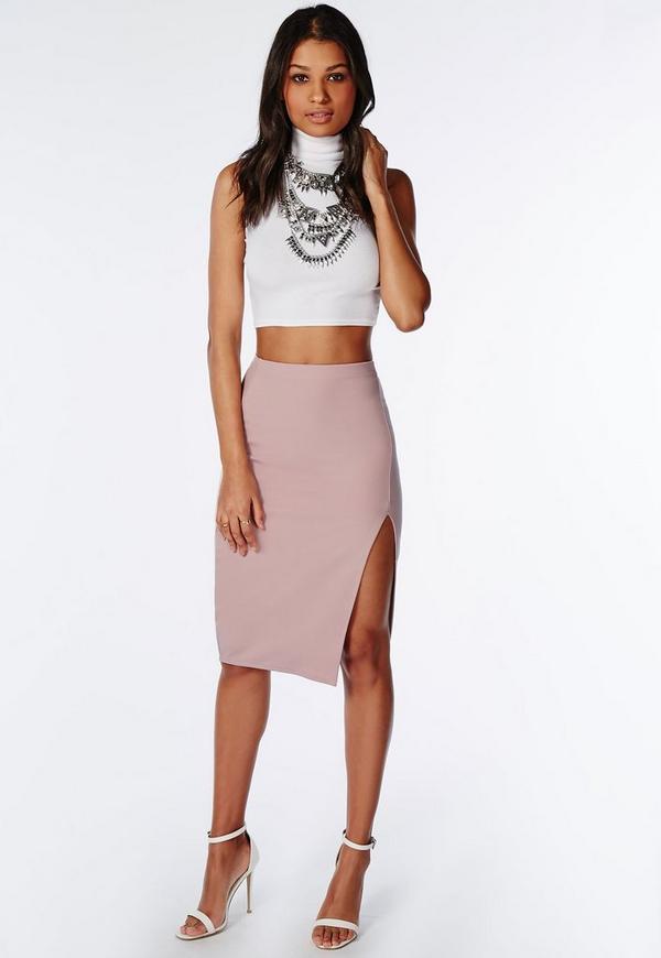 Thigh High Split Scuba Midi Skirt Mauve - Skirts - Missguided