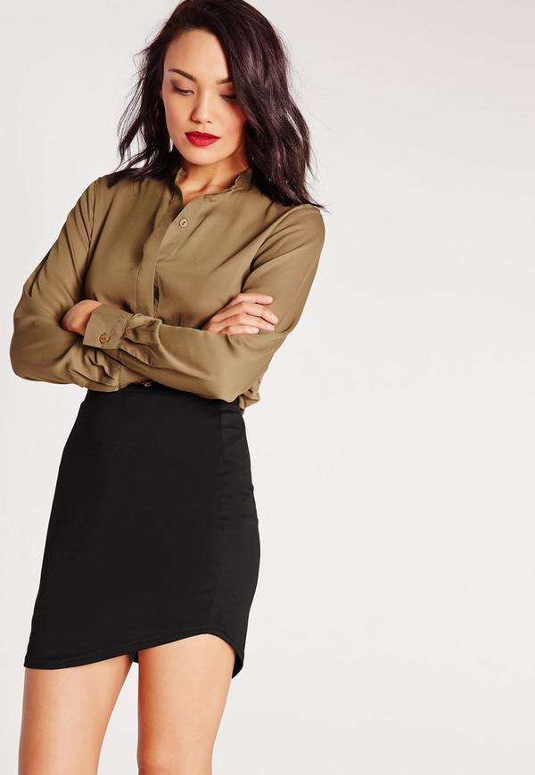 Ponte Curve Hem Mini Skirt Black
