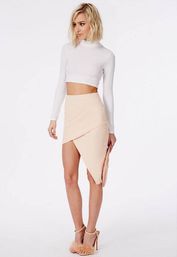 Asymmetric Midi Skirt Nude