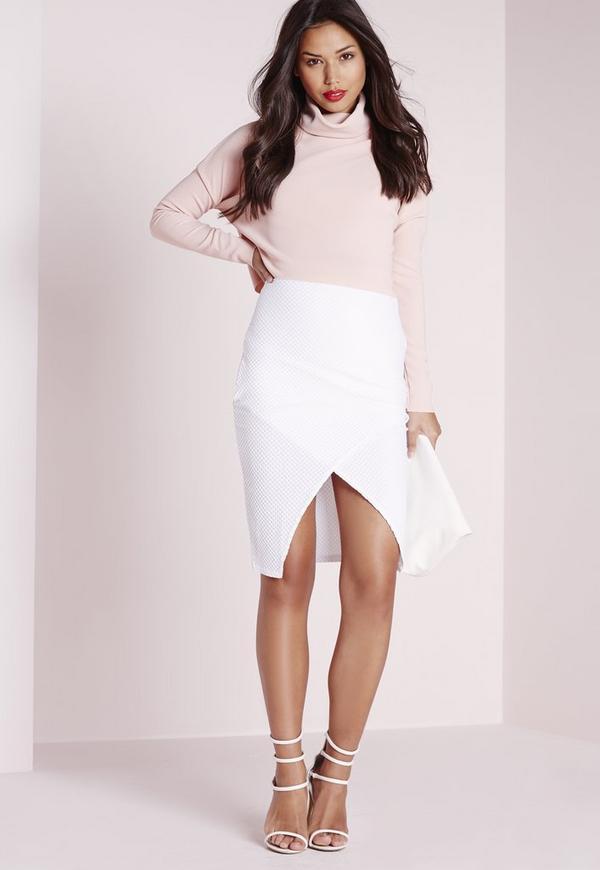 Textured Wrap Front Midi Skirt White