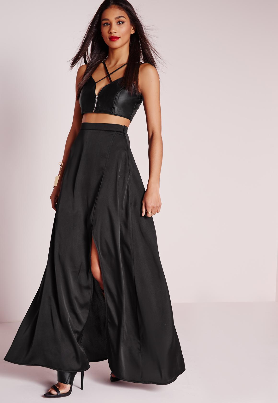Satin Wrap Maxi Skirt Black - Missguided