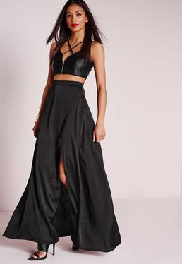 Satin Wrap Maxi Skirt Black