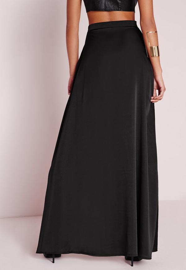 satin wrap maxi skirt black missguided