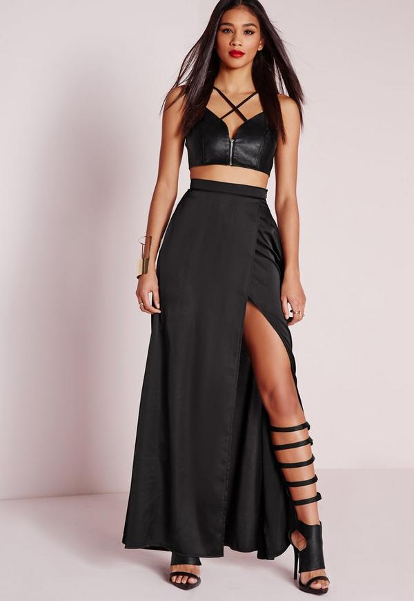 Satin Wrap Maxi Skirt Black | Missguided