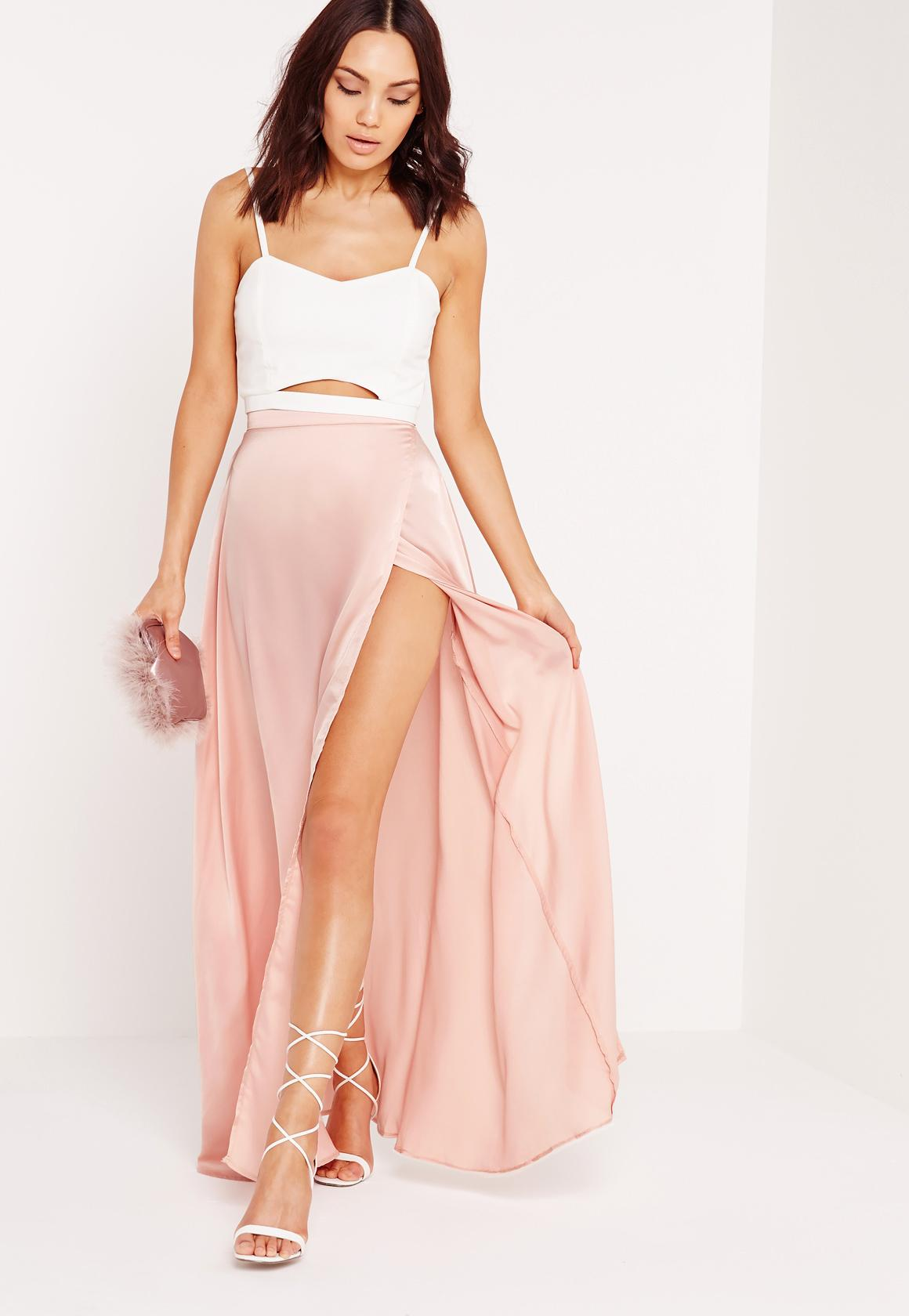 Satin Wrap Maxi Skirt Pink - Missguided