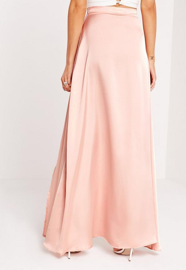 Satin Wrap Maxi Skirt Pink | Missguided