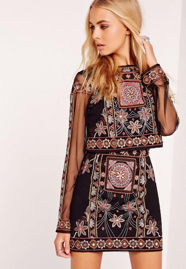 Premium Embellished Mini Skirt Black