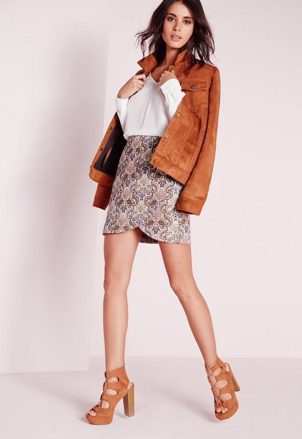 Curved Hem Jacquard Mini Skirt Multi