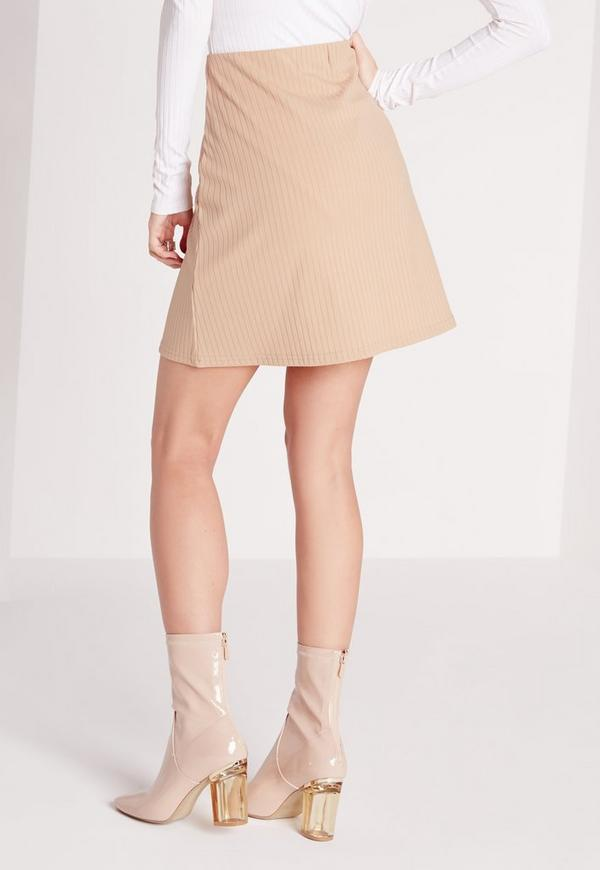 Ribbed A-Line Mini Skirt Camel | Missguided