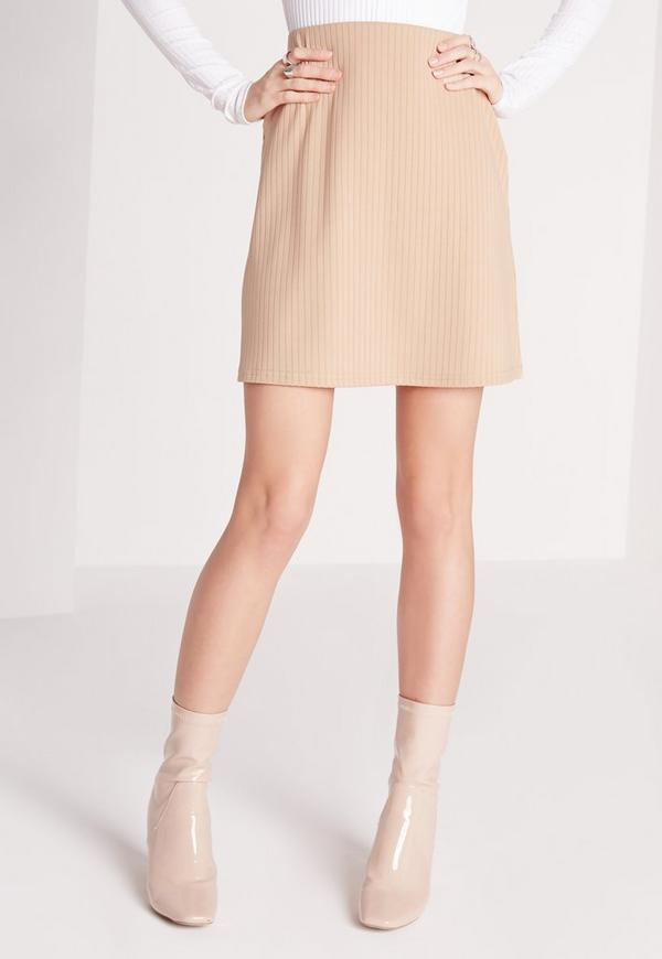 ribbed a line mini skirt camel missguided australia