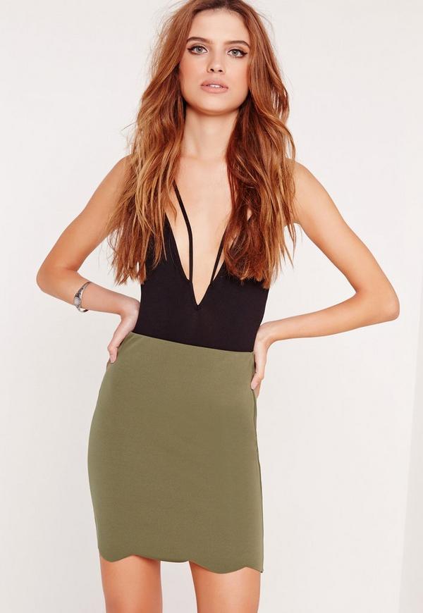 Scalloped Hem Scuba Mini Skirt Khaki