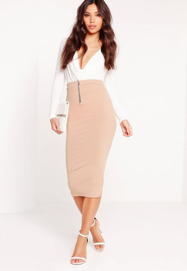 Chunky Ribbed Zip Front Midi Skirt Nude
