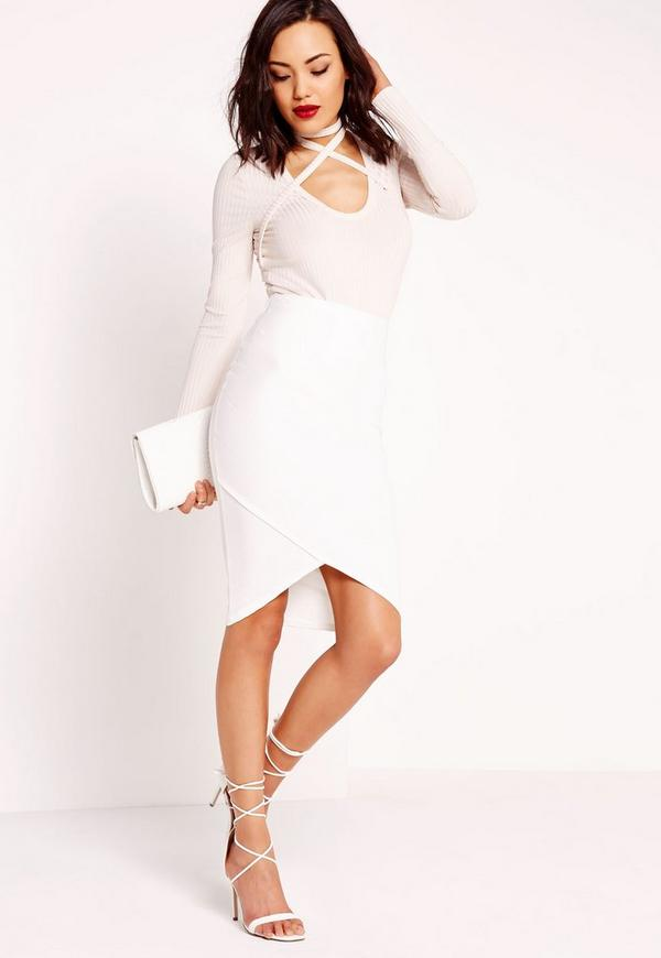 Bandage Asymmetric Hem Midi Skirt White