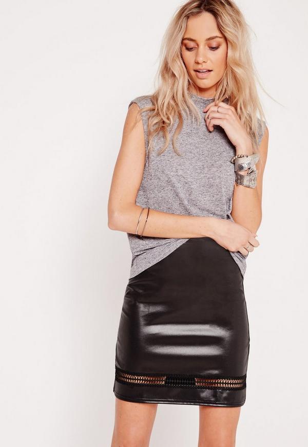 Insert Detail A-Line Mini Skirt Black