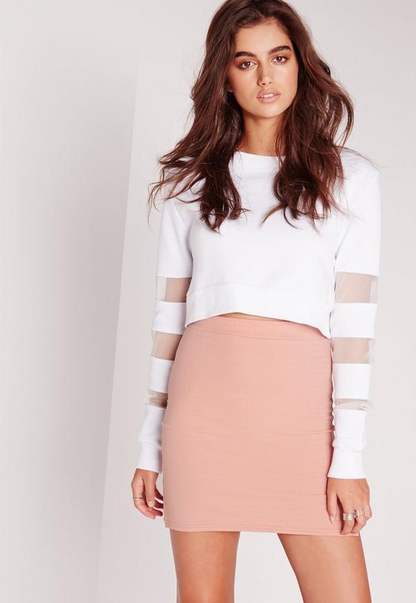 Croc Jacquard Mini Skirt Pink