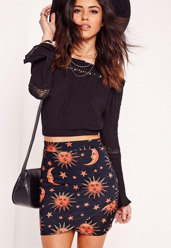 Sun & Moon Print Wrap Mini Skirt Black