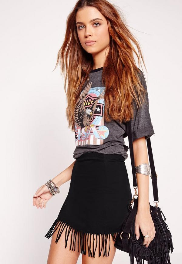 Tassel Hem Jersey Mini Skirt Black