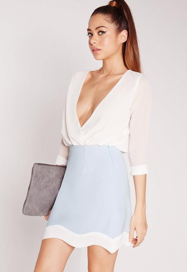 Contrast Wave Hem Mini Skirt Blue