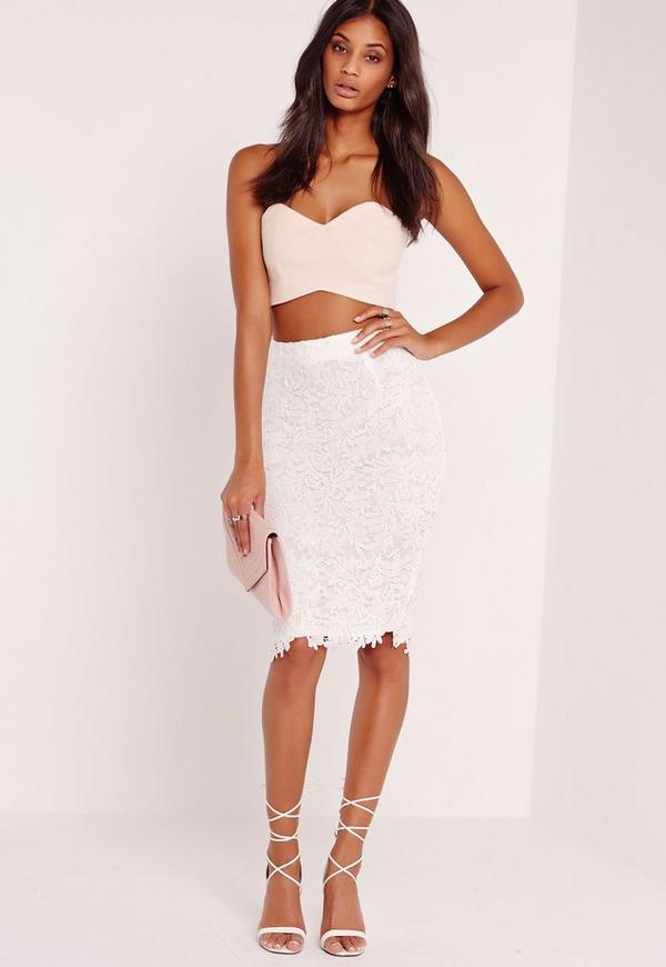 Crochet Lace Midi Skirt White