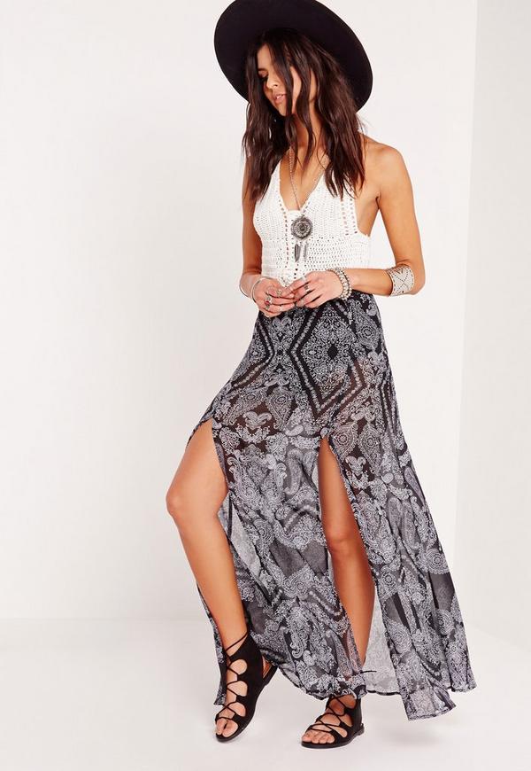 Paisley Print Double Split Maxi Skirt Black
