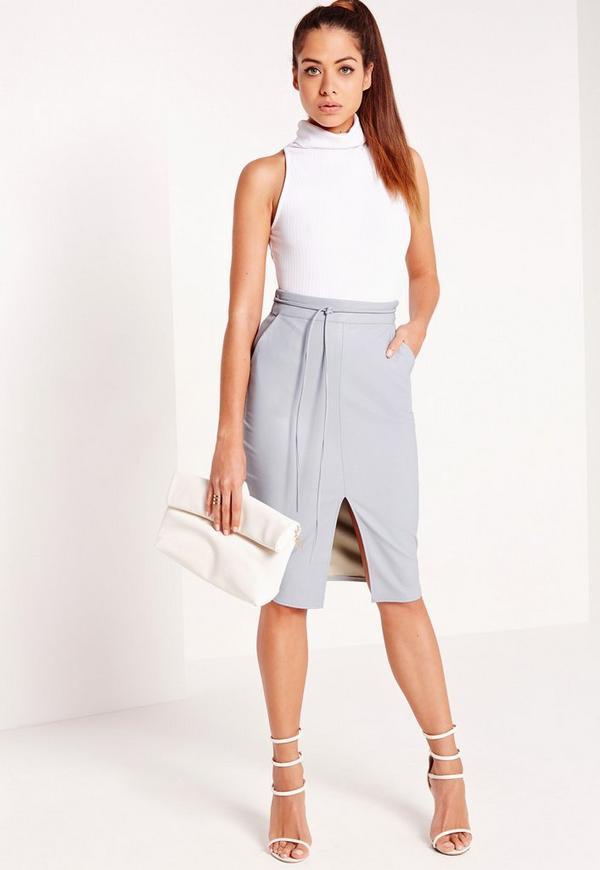 Faux Leather Skinny Belt Midi Skirt Blue