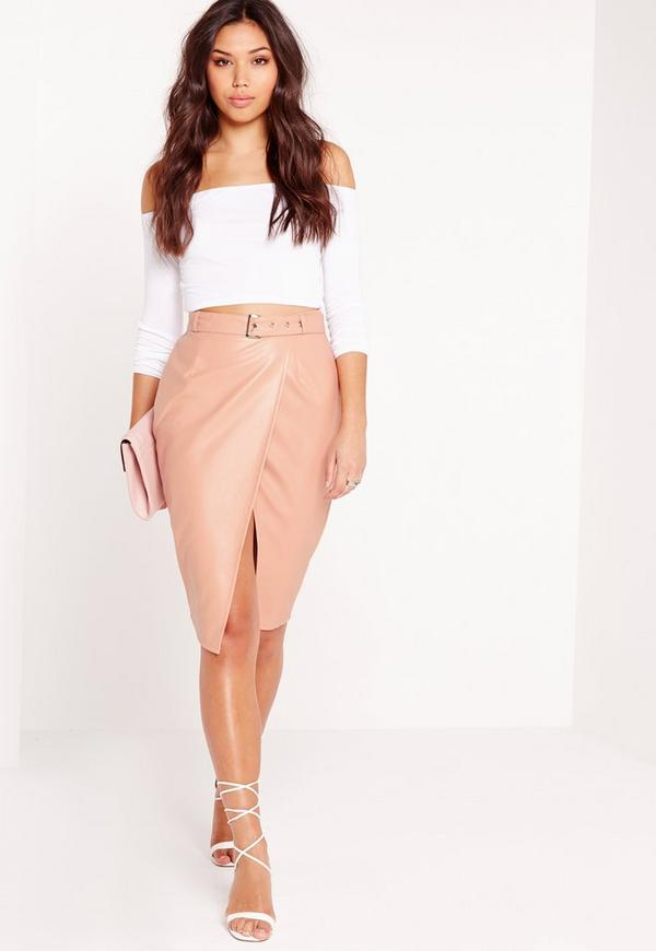 Belted Wrap Faux Leather Midi Skirt Nude