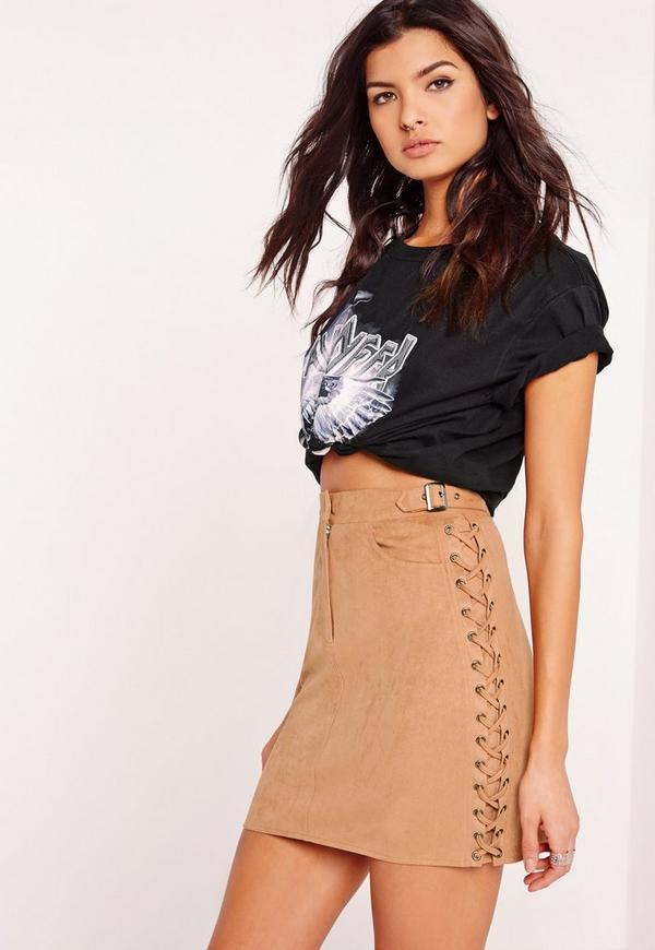 Faux Suede Lace Detail Mini Skirt Tan