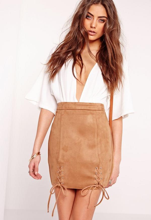 Faux Suede Lace Up Hem Mini Skirt Camel