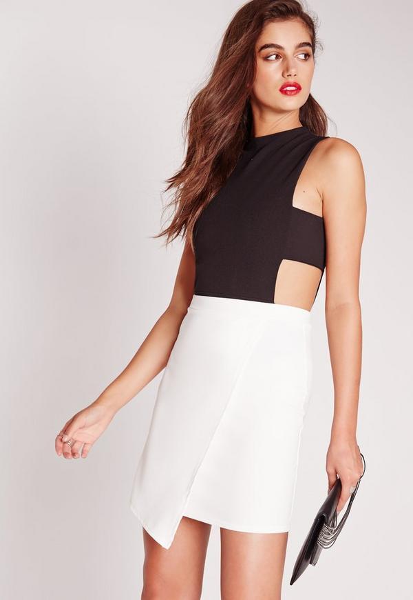 Scuba Wrap Asymmetric Mini Skirt White