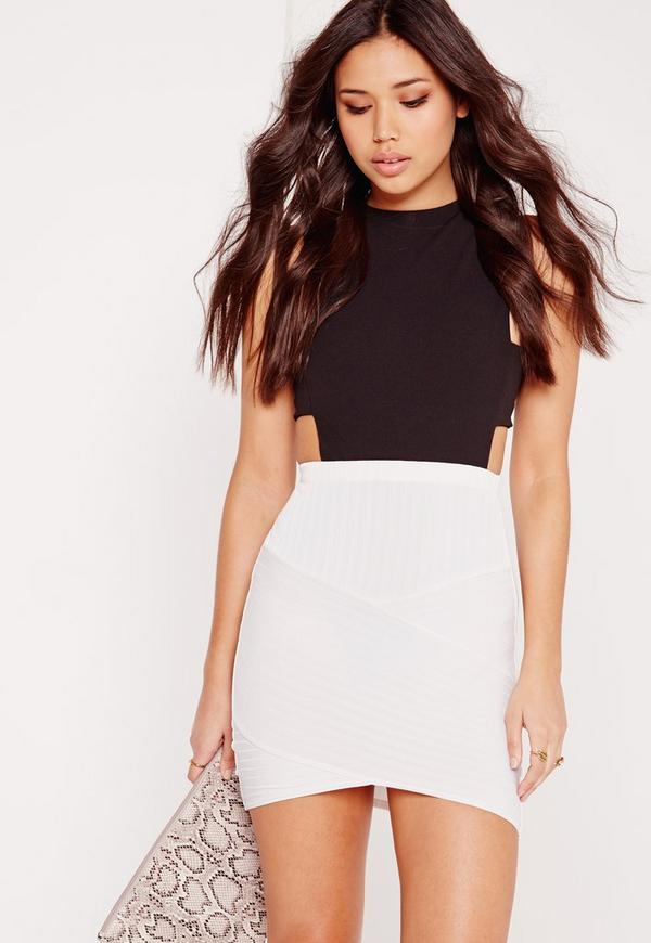 Ribbed Asymmetric Mini Skirt Light Grey