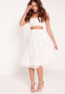 Crochet Lace Full Midi Skirt White