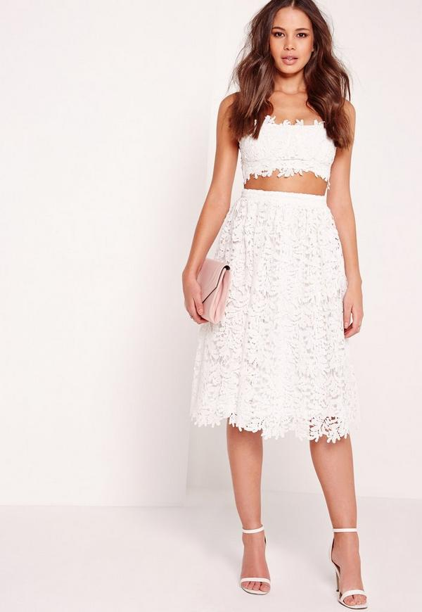 Crochet Lace Full Midi Skirt White | Missguided