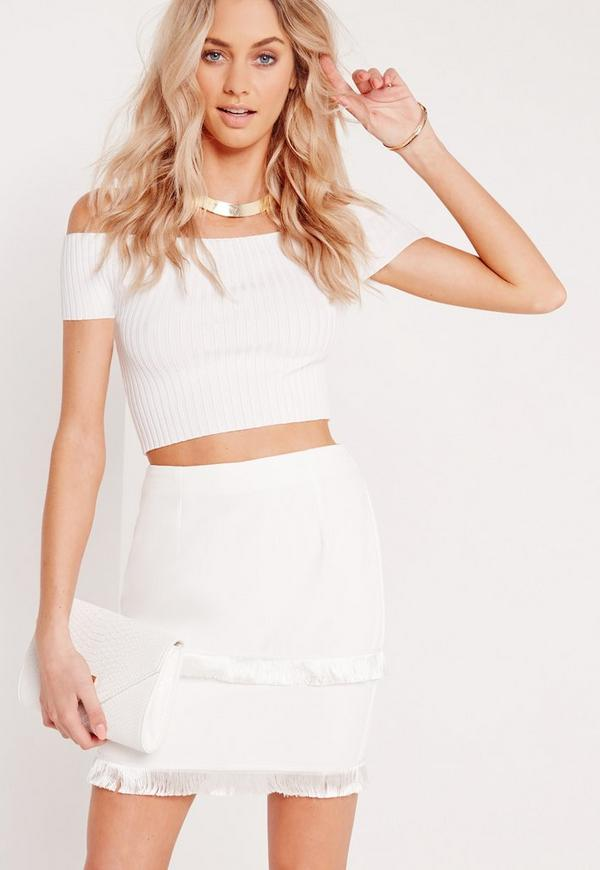 Fringe Trim Mini Skirt White