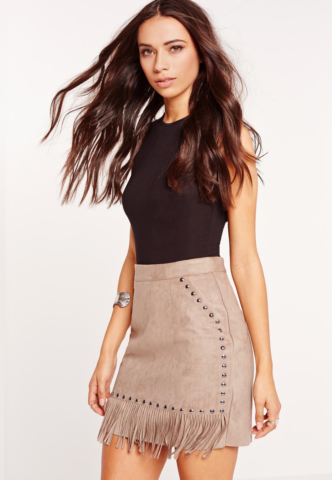 057278c690 Fringe Stud Detail Faux Suede Mini Skirt Grey | Missguided Ireland