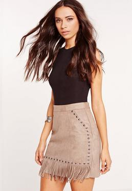 Fringe Stud Detail Faux Suede Mini Skirt Grey