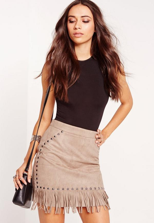 cd8ac25c6a Fringe Stud Detail Faux Suede Mini Skirt Grey. Was €30.00. Now €7.00 (77%  off). Previous Next