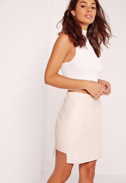 Geometric Step Hem Mini Skirt Nude