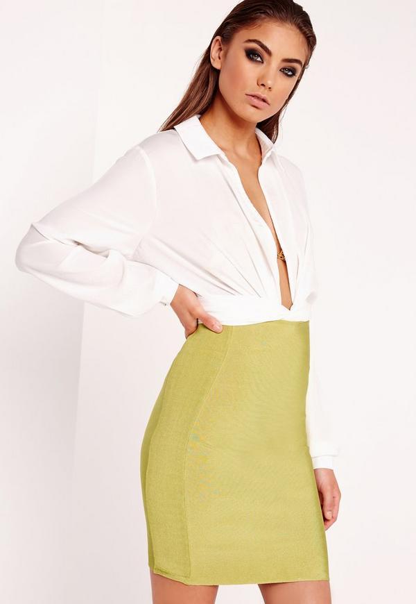 Bandage Mini Skirt Chartreuse