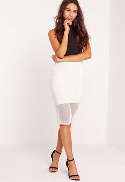 Premium Mesh Hem Panelled Bandage Skirt White