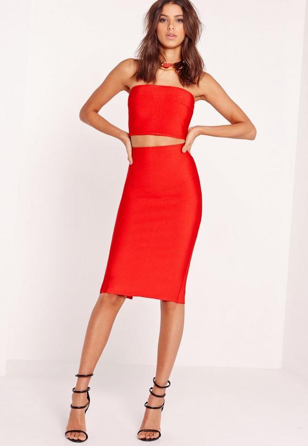 Premium Bandage Longline Midi Skirt Red