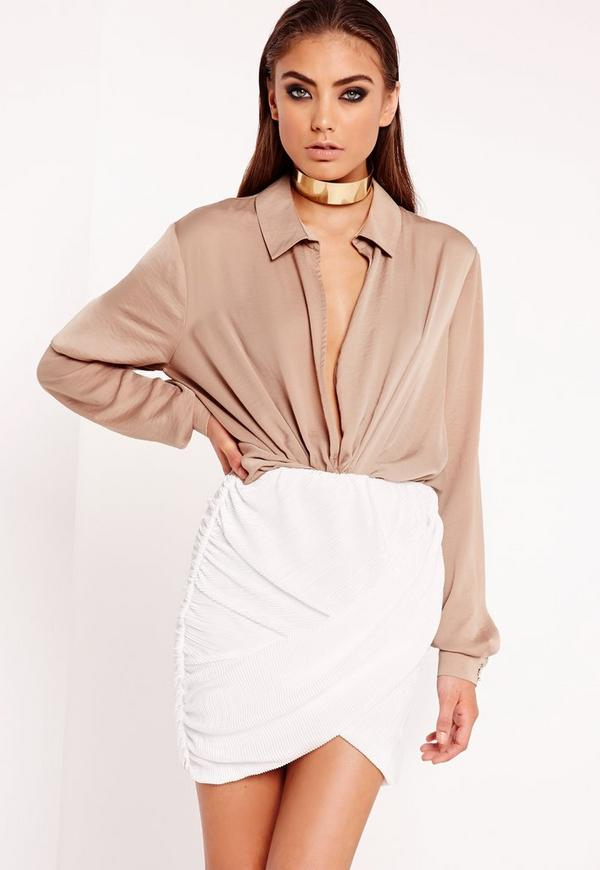 Pleated Wrap Mini Skirt White