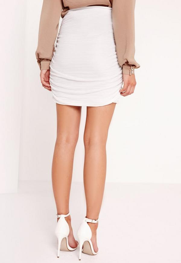 pleated wrap mini skirt white missguided