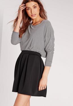Scuba Skater Mini Skirt Black